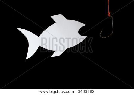 Papery Fish And Fish-Hook