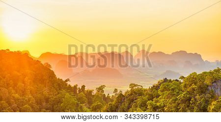 Mountain Tropical Landscape At Sunset