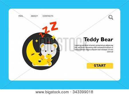 Illustration Of Cute Cartoon Teddy Bear Sitting On Moon. Sleeping, Night Time, Crescent. Night Time