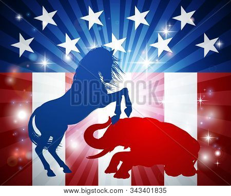 An American Election Concept Of The Democrat Donkey Beating The Republican Elephant