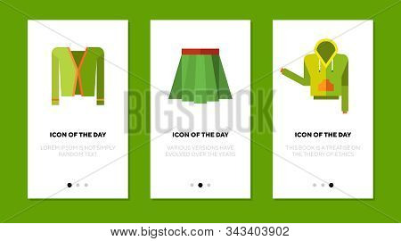 Green Clothing Design Flat Vector Icon Set. Skirt, Hoodie, Cardigan, Young Isolated Sign Pack. Style