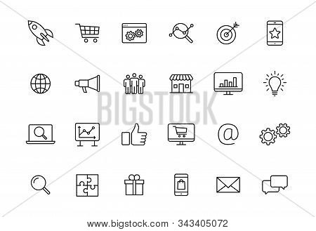 Set Of 24 Digital Marketing Web Icons In Line Style. Social, Networks, Feedback, Communication, Mark