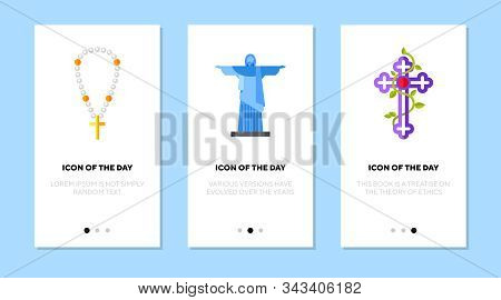 Christianity Symbols Flat Icon Set. Christ The Redeemer, Christian Cross, Pearl Beads. Religion, Wor