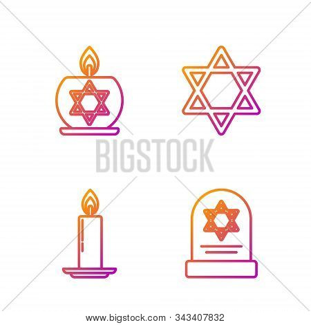 Set Line Tombstone With Star Of David, Burning Candle In Candlestick, Burning Candle In Candlestick