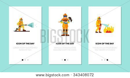 Fireman On Duty Flat Vector Icon Set. Profession, Saving Lives, Putting Out Fire Isolated Sign Pack.