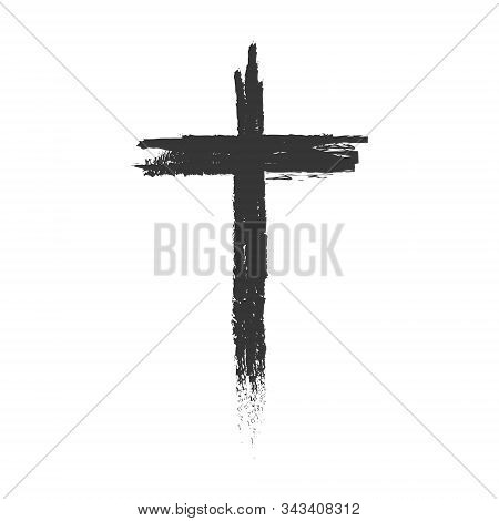 Hand Drawn Cross. Vector Cross. The Cross Is Made With A Brush.