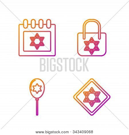 Set Line Star Of David, Balloons With Ribbon With Star Of David, Jewish Calendar With Star Of David