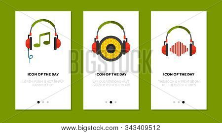 Listening To Music Flat Vector Icon Set. Headphone, Ear, Sound, Beat, Rhythm, Note Isolated Sign Pac