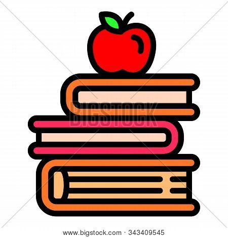 Apple On Books Stack Icon. Outline Apple On Books Stack Vector Icon For Web Design Isolated On White