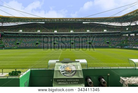 Lisboa, Portugal - April 2018:  View On Jose Alvalado Arena - The Official Playground Of Fc Sporting
