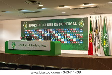 Lisboa, Portugal - April 2018: Press Conference Hall At Jose Alvalado Arena - The Official Playgroun