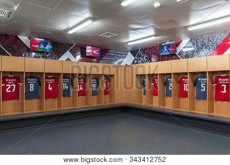 Lisboa, Portugal - April 2018: Changing Room At  Estadio Da Luz - The Official Playground Of Fc Benf