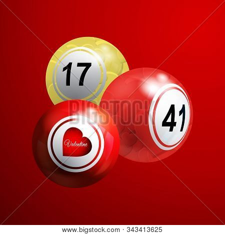 3d Illustration Of Valentine Bingo Lottery Balls Decorated With Love Hearts Over Red Background