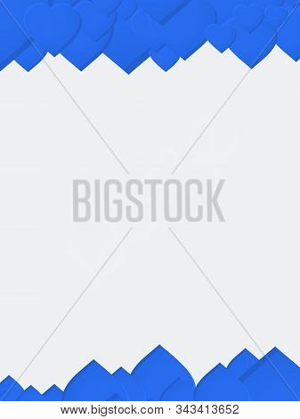 White Blank Copy Space Paper Sheet With Blue Love Hearts As Frame And Love Text Watermark
