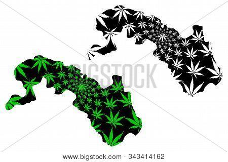 Plateau-central Region (regions Of Burkina Faso, Burkina Faso) Map Is Designed Cannabis Leaf Green A