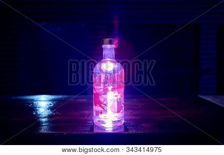 Moscow, Russia - January 4, 2020, A Bottle Of Vodka Absolut At The Bar.