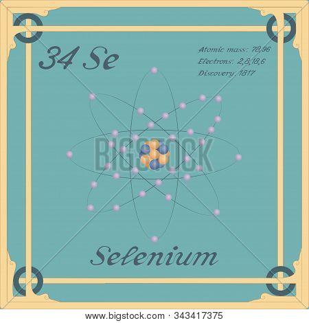 Periodic Table Element. Selenium Colorful Icon. Vector.