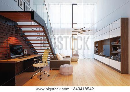 modern home office interior. 3d rendering design concept