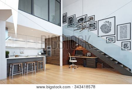 modern home office interior. 3d rendering design concept