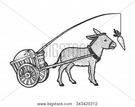 Donkey Chasing Carrot That Is Tied To Him And Drags Cart With Load Sketch Engraving Vector Illustrat