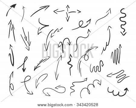 Doodle Arrow Set Sketch Engraving Vector Illustration. Romantic Love Lovesickness Symbol. T-shirt Ap