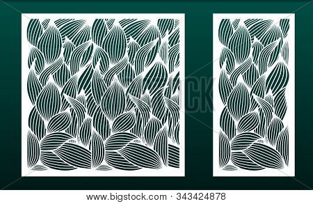 Set Of Panels For Laser Cutting. Templates For Wood Or Metal Cut, Fretwork Stencil, Paper Art. Flora