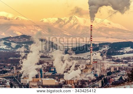 Ruzomberok, Slovakia - December 29: Smoke From Chimney At Factory In Town At December 29, 2019 In Ru