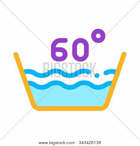 Laundry Sixty Degrees Celsius Vector Line Icon. Water Degrees Centigrade Washing Clothes Dress Servi