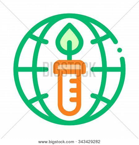 Candle Planet Earth Problem Vector Thin Line Icon. Depletion Of Resources Energy Global Environmenta