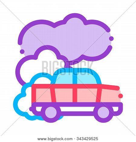 Car Co2 Carbonic Oxide Air Vector Thin Line Icon. Car Exhaust Gaz Dirty Air Environmental Pollution