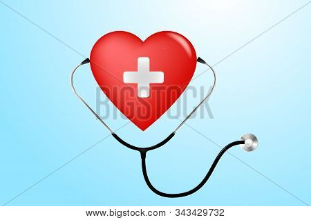 Stethoscope, Heart And Heartbeat In Medicine, Medical, Health, Cross, Healthcare Decoration For Flye