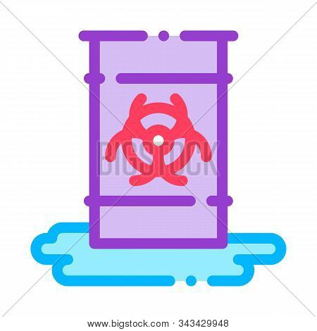 Nuclear Waste Container Vector Thin Line Icon. Scrap Nuclear Materials Environmental Pollution, Chem