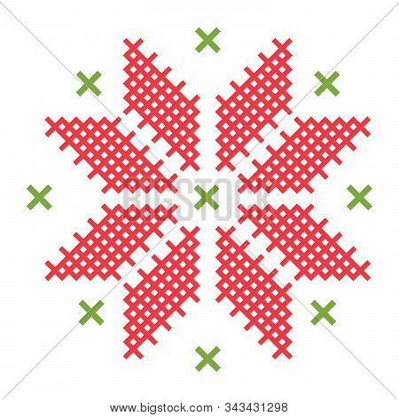 Cross-stitch On White Fabric Vector Flat Isolated