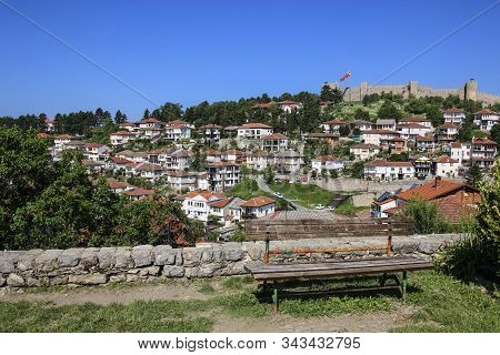 Town Ohrid And Famous Old Fortress Ruins Of Tzar Samuel At The Background In Ohrid, Republic Of Nort