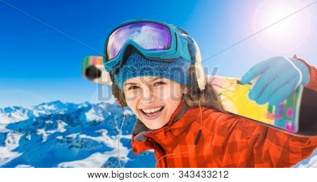 Ski girl in swiss famous mountains in beautiful winter snow  Mt Fort. The matterhorn and the Dent d'Herens.