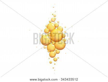 Gold Oil Bubbles. Vector Blink Collagen Capsules. Golden Balls Templatevector 3d Realistic  Oil.