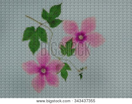 Illustration. Cross-stitch Bouquet Of Flowers. Cyclamen. Floral Background, Collage.  Flowers Textur