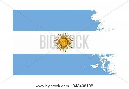 Grunge Texture Argentina Country Flag National Symbol. Scratched Concept. Suitable As A Background