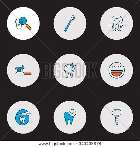 Enamel Icons Colored Line Set With Dental Implant, Parodontosis, Dental Care And Other Implantation