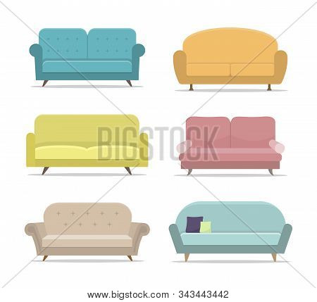 Set Of Sofa Or Couch. Flat House Sofas On Isolated Background. Apartment Furniture, Office. Collecti