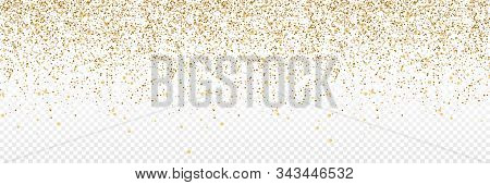 Gold Confetti. Confetti In Circle Shape Isolated On Transparent Background. Falling Gold Confetti Il