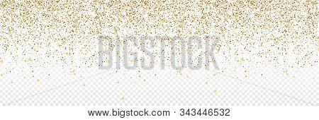 Gold Confetti. Confetti In Circle Shape Isolated On Transparent Background. Falling Gold Confetti Il