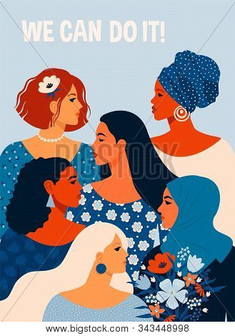 We Can Do It. Poster International Womens Day. Vector Illustration With Women Different Nationalitie