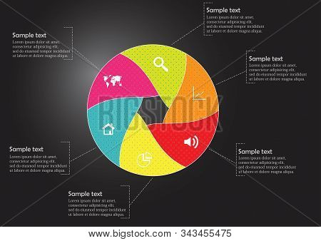 Round Infographic Template With Hexagonal Separation To Six Parts