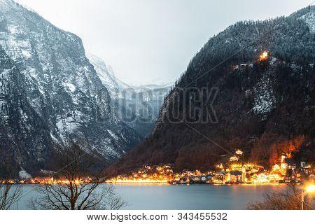 Hallstatt, Austria - Famous Austrian Scenic Night View Of Hallstatter Lake And Village In Austrian A