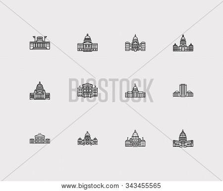Landmark Icons Set. Alabama State Capitol And Landmark Icons With Landscape, Texas State Capitol, Id