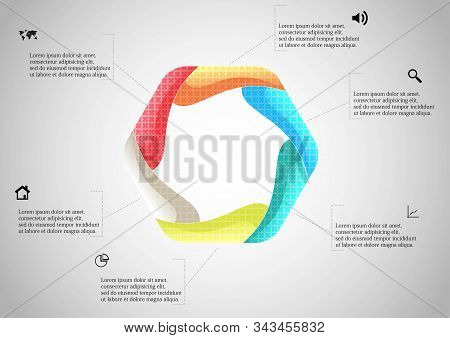 Hexagon Infographic Template Created By Six Curved Elements