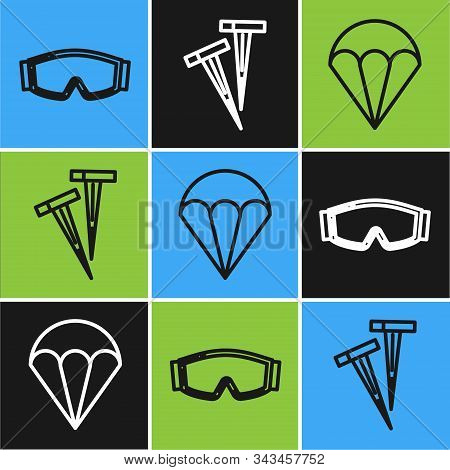 Set Line Ski Goggles, Parachute And Pegs For Tents Icon. Vector