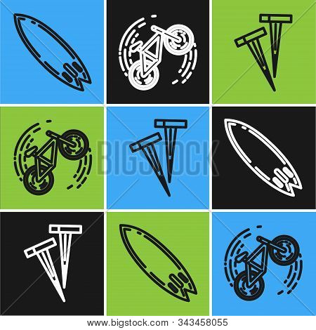 Set Line Surfboard, Pegs For Tents And Bicycle Trick Icon. Vector