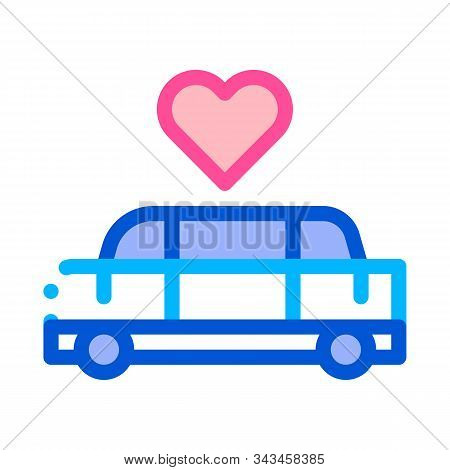 Car Limousine For Wedding Ceremony Vector Icon Thin Line. Limousine For Transportation Married Linea